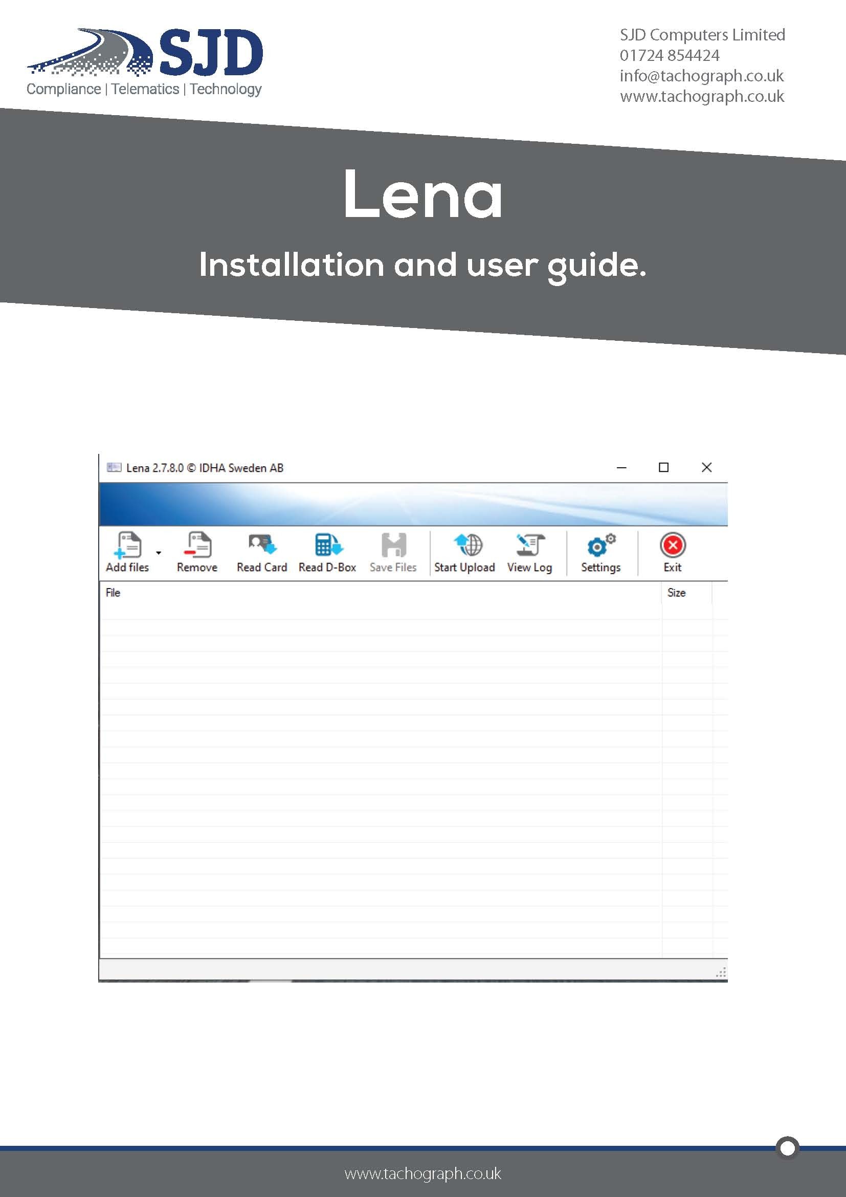 Lena setup and user guide cover